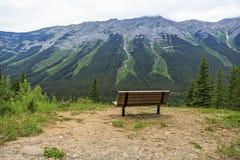 室外长凳有自然一个完善的看法  库存照片