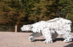 室外雕塑北极熊 免版税库存照片