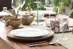 室外餐位餐具 免版税库存照片