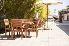 室外餐馆咖啡露天咖啡馆 库存照片