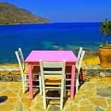 室外餐馆在希腊 免版税图库摄影