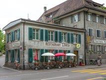 室外餐馆在弗劳恩费尔德瑞士 库存照片