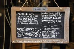 室外餐馆菜单签到意大利语 图库摄影