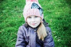 室外画象秋天,春天,冬天美丽的小女孩 库存照片