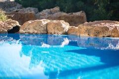 室外inground住宅游泳池在有浴盆的后院 免版税图库摄影