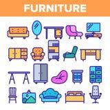 室家具线象集合传染媒介 内部内阁设计 本级教室家具元素 o 向量例证