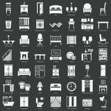 室家具被设置的剪影象 免版税库存图片
