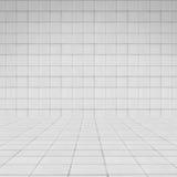 室透视白色瓦片墙壁纹理 免版税图库摄影