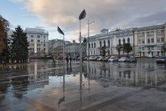宪法广场-其中一个最旧的正方形在哈尔科夫 图库摄影