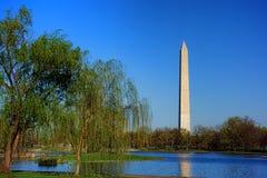 从宪法庭院池塘的华盛顿纪念碑 免版税库存照片