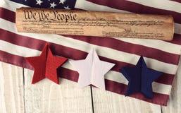 宪法旗子和星 免版税库存照片