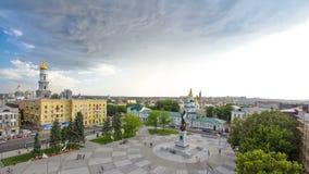 宪法timelapse正方形的鸟瞰图在市中心哈尔科夫 股票视频