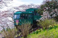 宫城,日本- 2017年4月13日:游人倾斜通过汽车通行证 图库摄影