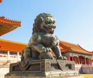 宫殿博物馆场面铜狮子 免版税库存照片