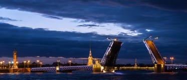 宫殿桥梁和彼得和保罗堡垒,涅瓦河,圣彼德堡,俄罗斯看法  图库摄影