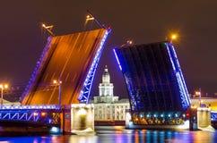 宫殿桥梁和Kunstkamera博物馆在涅瓦河的晚上在圣彼德堡 库存照片