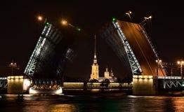 宫殿桥梁夜视图在圣彼德堡 免版税库存图片