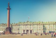 宫殿正方形以状态埃尔米塔日博物馆和冬宫 免版税库存图片