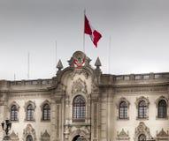 总统宫殿的门面,利马,秘鲁 免版税库存照片