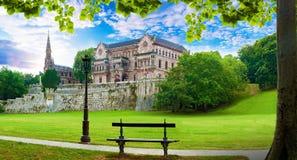 宫殿Sobrellano,科米利亚斯,坎塔布里亚,西班牙 免版税库存照片