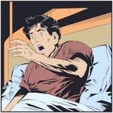 害怕人在床上 E 向量例证