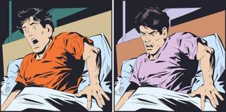 害怕人在床上 E 库存例证