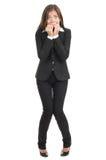害怕的女实业家紧张 免版税库存照片