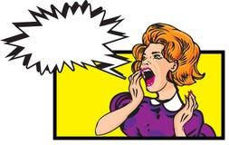 害怕的妇女-与讲话泡影的减速火箭的剪贴美术例证 库存图片