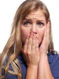 害怕的妇女年轻人 免版税库存照片