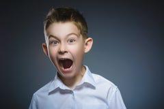 害怕的特写镜头和冲击了小男孩 人的情感面孔表示 免版税库存图片