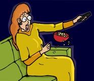 害怕的电视注意 免版税库存照片