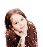害怕表面女孩纵向惊奇的年轻人 图库摄影