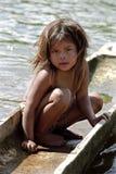 害羞的印地安女孩,北部尼加拉瓜画象  库存照片