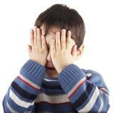害羞的男孩 图库摄影