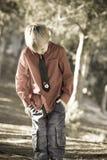 害羞的男孩 库存照片