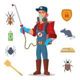 害虫控制传染媒介 从传染,微生物的预防 给防护穿衣 反毒菌 驱除剂 喷洒 库存例证