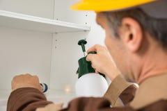 害虫控制工作者喷洒的杀虫剂 免版税库存照片
