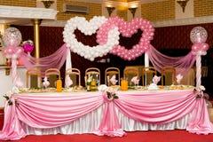 宴会桌婚礼 免版税库存照片