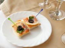 宴会点心三文鱼表二 免版税图库摄影