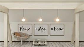 家、爱、家庭和幸福概念 在框架斯堪的纳维亚样式家室内装璜的海报 3d回报 免版税库存图片