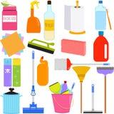家事工具和清洁设备 免版税库存照片