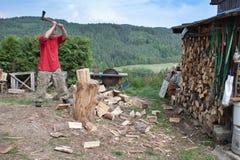 家事,人的冬天切开木头,准备 免版税库存图片