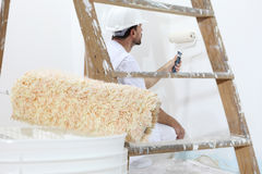 画家人在与漆滚筒一起使用,壁画概念 库存照片