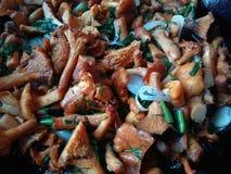 家做的油煎的蘑菇 图库摄影