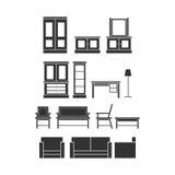 家具传染媒介剪影 库存照片