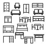 家具在白色背景隔绝的象集合传染媒介  免版税库存图片