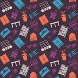 家具无缝的颜色样式 背景,例证, vect 免版税图库摄影