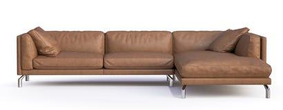 家具皮革客厅套装沙发 在空白背景 免版税图库摄影