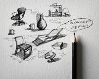 家具速写在白皮书的构思设计 免版税库存图片