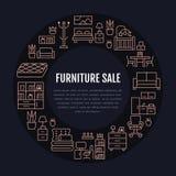 家具销售与平的线象的横幅例证 客厅,卧室,家庭办公室椅子,厨房,沙发,托儿所 免版税库存图片